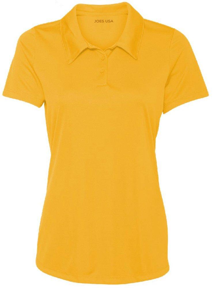 Women's Dri-Equip Golf Polo Shirts 3-Button Golf Polo-S-Athletic Gold by Joe's USA
