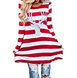 Dress for Women Casual Christmas Party Long Sleeve Stripes Dresses From Koobea Red Large