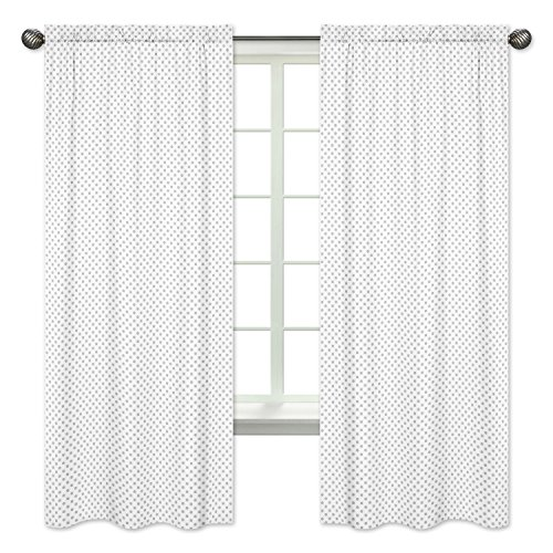Sweet Jojo Designs 2-Piece Grey and White Polka Dot Window Treatment Panels Curtains for Watercolor Floral Collection by