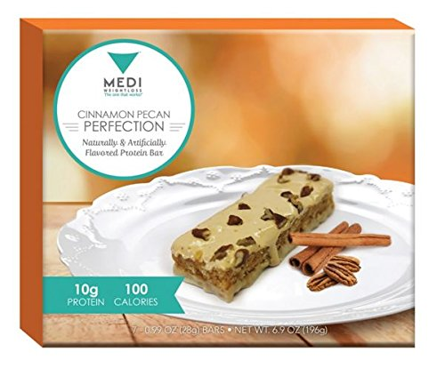 Medi-Weightloss Cinnamon Pecan Perfection Protein Bars - 100 Calories, High Protein (10g) - for Hunger Control During Diet/Weight Loss - 7 Bars Per Box