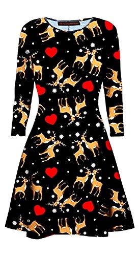 66 Dames De La Mode District Filles Patineur Évasé Bonhomme De Neige Noël Impression Numérique Mini Robe Swing Uk Imprimé Amour Rennes