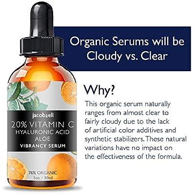 Vitamin C Serum - Top Influencer - Organic & Vegan - Packed With Hyaluronic Acid, Aloe, Jojoba Oil, Vitamin E & more - Good for Acne, Anti Wrinkle, Anti Aging, Fades Age Spots & Sun Damage