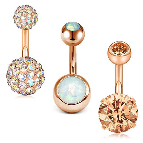 MODRSA 14G Stainless Steel Belly Button Rings for Women Girls Navel Barbell Stud CZ Body Piercing Rings 8mm - 14g Button Belly