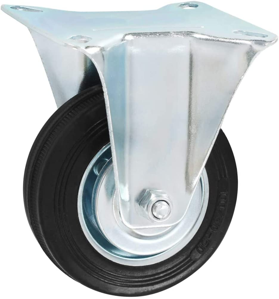 vidaXL 4x Ruedas Fijas de Transporte Manipulaci/ón de Materiales Almac/én Articulos Industriales Resistentes Silenciosas Duraderas Suaves /Útiles 100mm