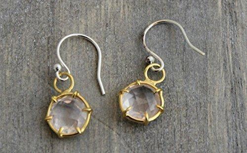 Bridal Rose Quartz Mixed Metal Sterling Silver Earrings (Metal Silver Quartz)