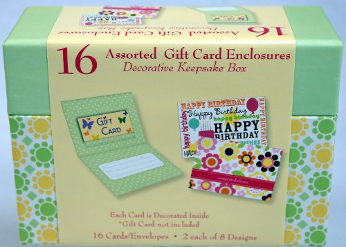 16 Assorted Cards w/ Gift Card Enclosure & Envelopes in Decorative Keepsake Box