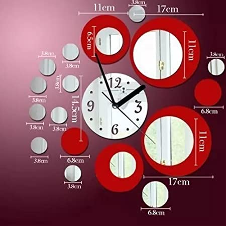 Amazon.com: Alrens_DIY(TM) Red and Silver Rounds Wall Clock Mirror Wall Clock Modern Design Removable DIY Acrylic 3D Mirror Wall Decal Wall Sticker Living ...