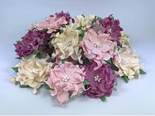 25 pcs. Crazy Pink Flower Purple Tone Mulberry Paper Flower 40-45 mm Scrapbooking Wedding Doll House Supplies Card by' Thai Decorated