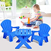 Costzon Kids Plastic Table and 2 Chairs Set, Adirondack Chair for Indoor & Outdoor Garden, Patio, Beach, Home, Toddlers Boys & Girls Activity Craft Table Set