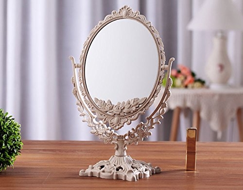 Antique Oval Table Top Mirror Dressing Table Mirror Vintage Vanity Mirror Bedroom Bathroom Mirror Double Sided Shabby Chic ABS Big Size (Square Base) (Square Base (Bedroom Vintage Vanity)