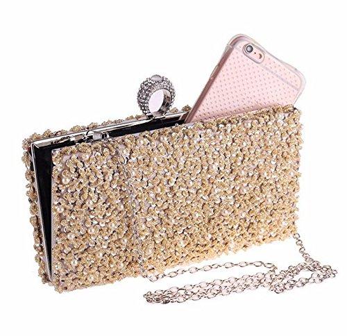 de bordado bolso Champagne Color exquisito bolso vestido champagne XJTNLB noche bolso lujoso vestido cena Color Ladies' gqZx8XvT