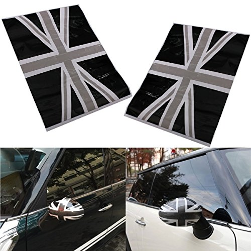 Jonathan-Shop - 2x Union Jack Flag Vinyl Stickers Wing Side Mirrors Cover Black For Mini Cooper