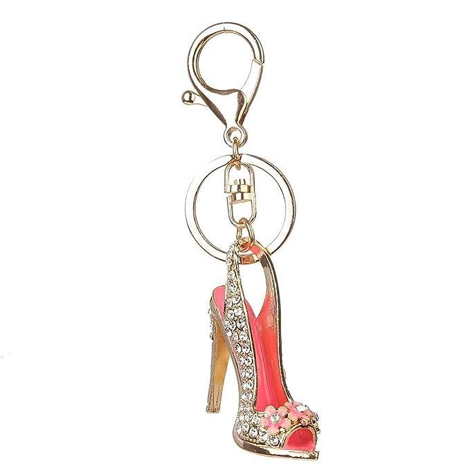 Zapato del tacón alto llavero llavero del cristal del Rhinestone del monedero del coche Cadena Regalo de la muchacha Bolsa decorativo aleación llavero