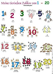 Meine tierischen Zahlen von 1-20. Poster: Deutsch /Englisch