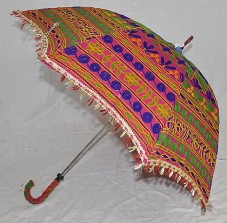Indio hecho a mano Funda Algodón Colorido Paraguas Adorables Vintage bordado Trabajo