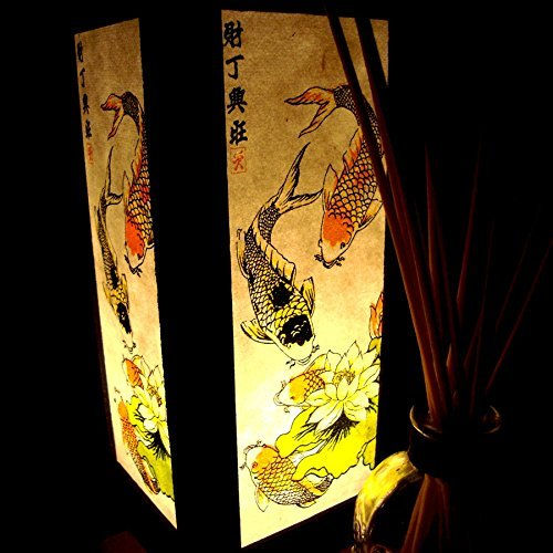 2-x-colorful-lotus-lucky-koi-fish-handmade-asian-oriental-wood-table-or-bedside-light-lamp