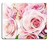 Beautiful Pink Roses Bouquet pale rose petals flower green Mouse Pads Customized Made to Order Support Ready 9 7/8 Inch (250mm) X 7 7/8 Inch (200mm) X 1/16 Inch (2mm) High Quality Eco Friendly Cloth with Neoprene Rubber Liil Mouse Pad Desktop Mousepad Laptop Mousepads Comfortable Computer Mouse Mat Cute Gaming Mouse_pad