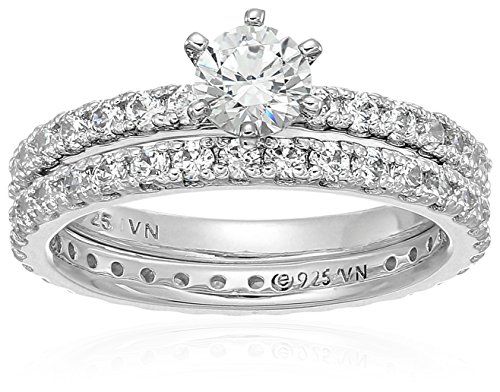 (Platinum-Plated Sterling Silver Round Ring Set made with Swarovski Zirconia (1/2 Carat Center Stone), Size 6)