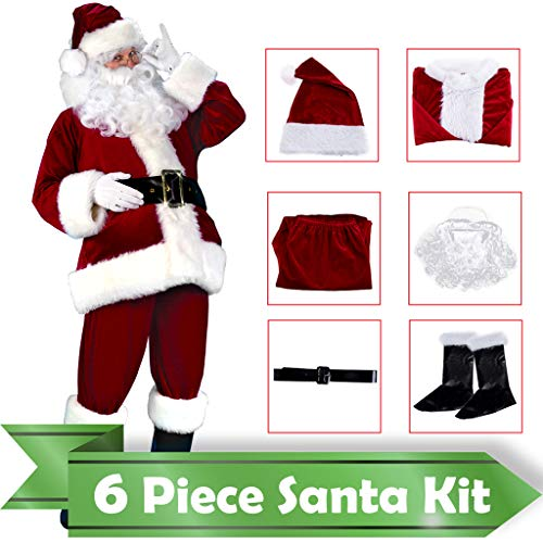 Velvet Santa Suit Santa Claus Christmas Suit Santa Costume for Men Wine Red -