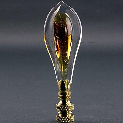 Amber Teardrop Leaf Finial 3.25'' Tall Brass Gold Look Shade Topper Yellowish Orange Crystal Glass Tear Drop