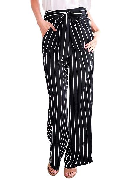 Minetom Mujeres Oficina Raya Pantalones Casual Moda Verano Otoño Harem Playa Pantalones De Pierna Ancha Pants con Cintura: Amazon.es: Ropa y accesorios