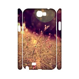 3D Samsung Galaxy Note 2 Cases Grass Closeup Halo Bokeh Effect for Women, Luxury Case for Samsung Galaxy Note 2 N7100 Tyquin, {White}