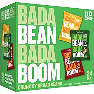 Bada Bean Bada Boom Plant-based Protein, Gluten Free, Vegan, Non-GMO, Soy Free, Roasted Broad Fava Bean Snacks, The Game Day Box Variety Pack, 1 Ounce (24 Count)