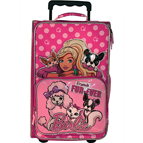 Barbie and Pets ''Friends Fur-Ever'' 18-inch Rolling Luggage with Two Inside Mesh Pockets by Accessory Innovations