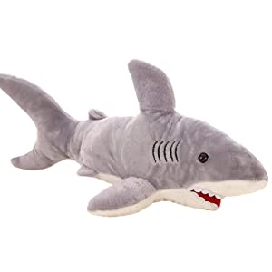 VSFNDB Shark Plush Toy 28 Inch Giant Huge Stuffed Animal Doll Gray Child Pet Hugging Pillow Cushion - Super Soft Cuddly Figure for Kids Gift Party Favors - 28""