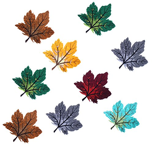 YUYUE Maple leaves Applique Embroidered Iron on Patches, 6 (Maple Leaf Applique)