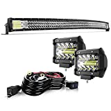 TURBO SII 52' Curved LED Light Bar Triple Row 711W Flood Spot Combo Beam Led Bar W/ 2Pcs 4in 60W Off Road Driving Fog Lights with Wiring Harness-3 Leads for Jeep Trucks Polaris ATV Boats Lighting
