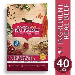 Rachael Ray Nutrish Natural Premium Dry Dog Food, Real Beef, Pea, & Brown Rice Recipe, 40 Lbs