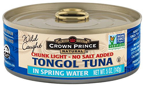 Crown Prince Natural Chunk Light Tongol Tuna in Spring Water, No Salt Added, 5 Ounce Cans (Pack of 12) ()