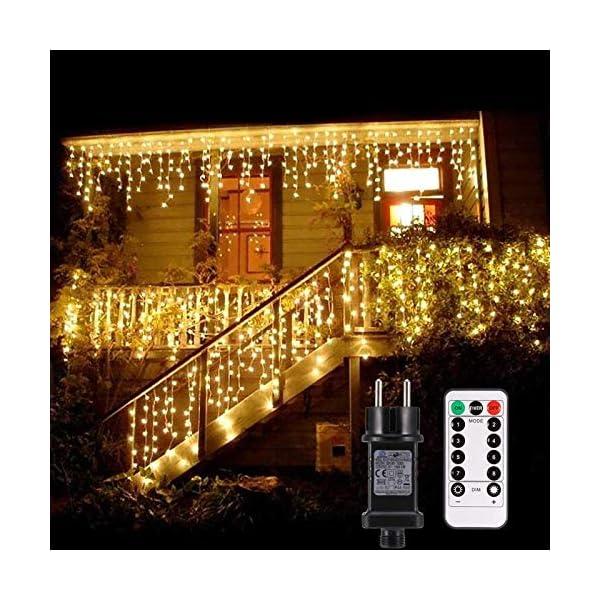 Cascata luci! Tende 480 LED con telecomando, tenda led con 8 modalità, luci matrimonio per feste, casa, cortile, finestra, patio, facciata, Natale, San Valentino, matrimonio ecc. (Bianco caldo) 1 spesavip
