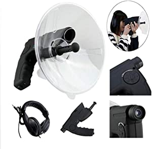 EMGOD Parabolic Microphone Bionic Ear,Birds Listening Telescope,with A Built-in 8X Zoom Monoculars Listening Distance Up to 300Ft / 100M(Including A Headset)