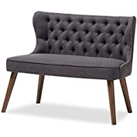 Baxton Studio Sydney Walnut Wood Button-Tufting With Nailheads Trim 2-Seater Loveseat Settee, Dark Grey