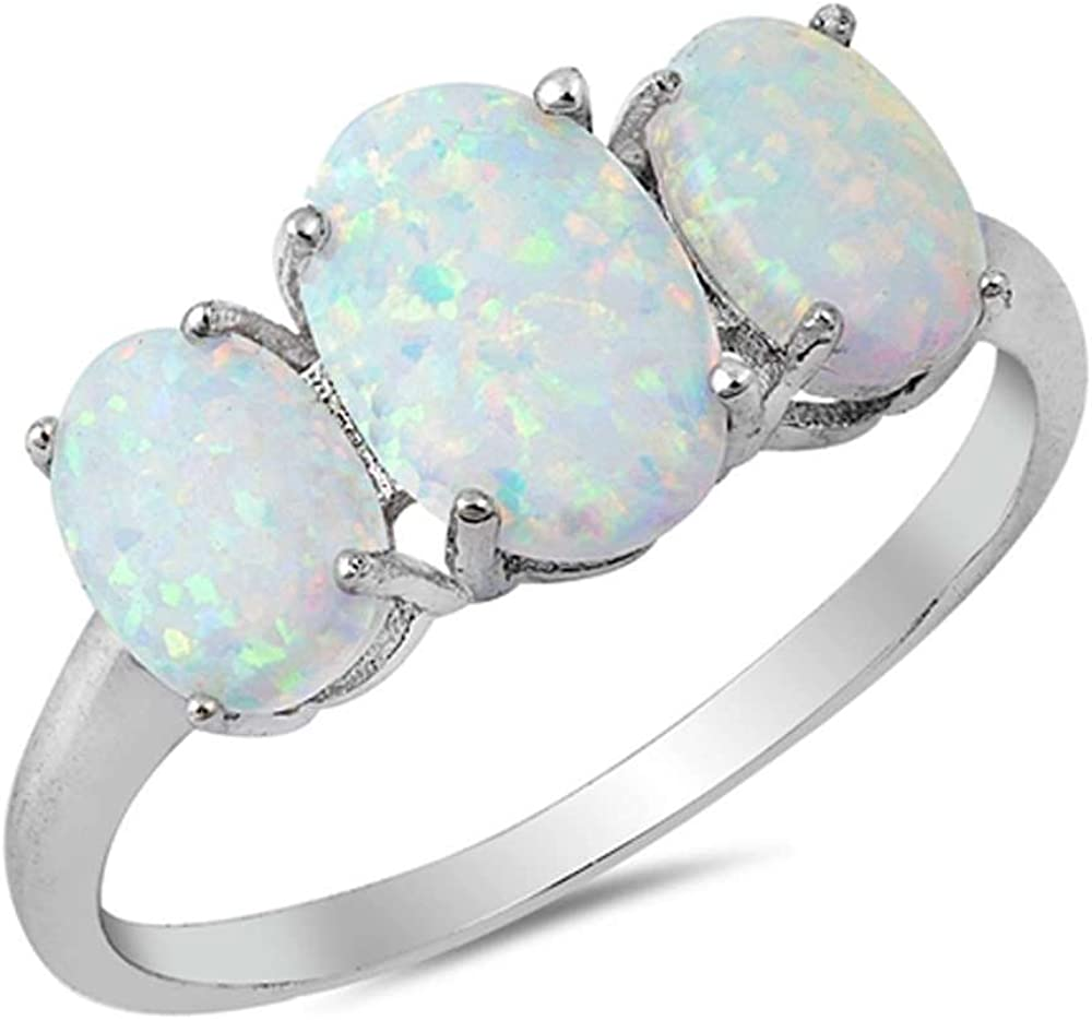 Oxford Diamond Co Sterling Silver Oval Three Stone Lab Created Opal Ring Ring Sizes 5-10