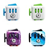 FIDGET DICE Pack of 4 Relieves Stress and Anxiety Attention Cube for Work/Class/Home, Night Sky, Ocean Blue and Blue Green