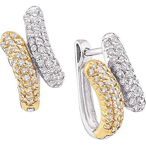 Roy Rose Jewelry 14K Yellow Gold Womens Round Diamond Two-tone Bypass Huggie Hoop Earrings 1/2-Carat (14kt 2 Tone Diamond Earrings)