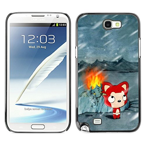 Soft Silicone Rubber Case Hard Cover Protective Accessory Compatible with SAMSUNG GALAXY NOTE 2 & N7100 - Cute Winter Cat