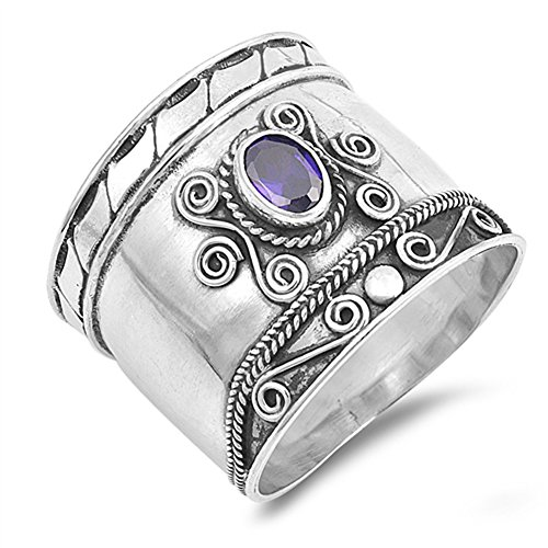 Simulated Amethyst Wide Bali Swirl Ring New .925 Sterling Silver Dot Band Size 10 (Amethyst Swirl Ring)