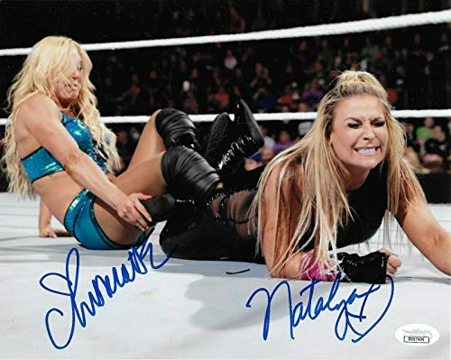 Charlotte Flair & Natalya Wwe Divas Signed Autograph 8x10 Photo Coa - JSA Certified - Autographed Wrestling Photos