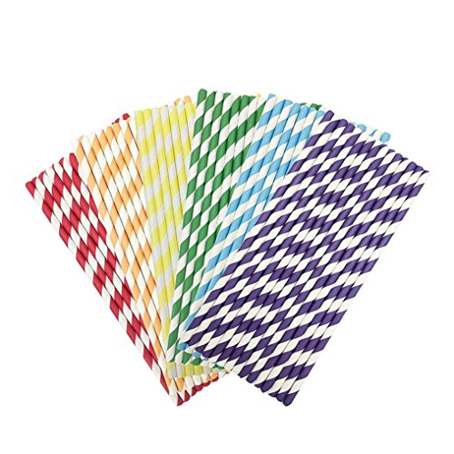 Feccile 200Pcs Drink Paper Straws Birthday Party Picnics Camping Supplies by Feccile Kitchen (Image #2)
