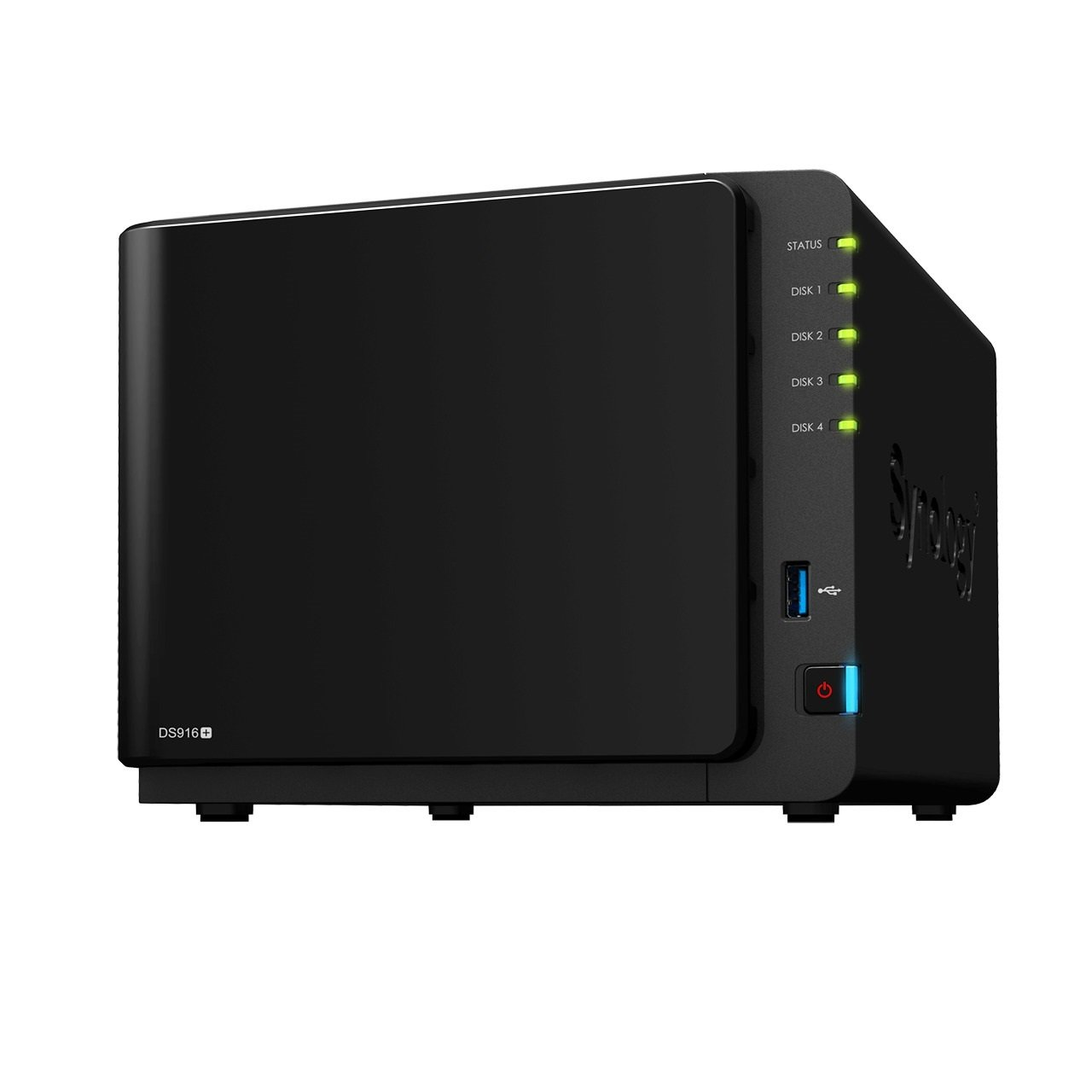 Synology DiskStation DS916+ - Dispositivo de almacenamiento en red NAS  (Intel Celeron N3060, 4 bahías, 2 GB RAM, USB 3.0, SATA II/III, Gigabit), negro 4 bahías Synology' DS916+(2GB)