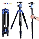 Zomei Professional Photography Aluminium Travel Tripod Monopod Kit & Ball Head & Carry Case For DSLR Camera Canon Nikon Pentax SonyFor Camera Flexible - Max Height 62.5 inch