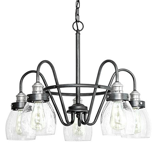 (Progress Lighting Crofton Collection 5-light Rustic Pewter Chandelier with Brushed Nickel Accents and Clear Seeded Glass)