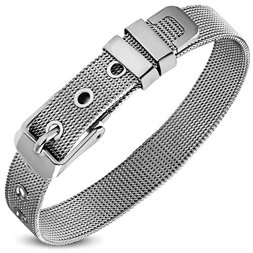DianaL Boutique Stainless Steel Mesh Belt Buckle Bracelet (Mesh Stainless Steel Bracelet)