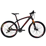 Cheap BEIOU Carbon Fiber Mountain Bike Hardtail MTB 10.65 kg SHIMANO M610 DEORE 30 Speed Ultralight Frame RT 26 Professional Internal Cable Routing Toray T800 Carbon Hubs Matte CB024B (Red, 17-Inch)