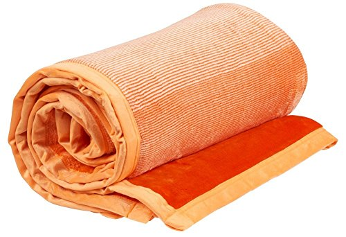 Vera Fleece Throw Blanket Flannel Bed Throw (Orange, Twin (66