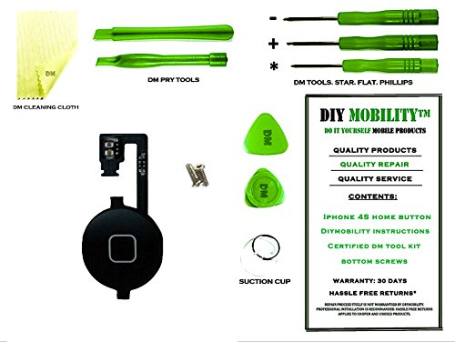 Flex Cable Sliding - iPhone 4S Black Home Button with Flex Cable PREMIUM Kit with DM Tools, Cleaning Cloth, and Instructions Included - DIYMOBILITY
